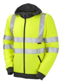 HiVis Full Zip Hooded Sweatshirt - Yellow