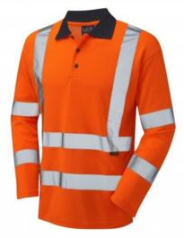 HiVis GO/RT Comfort Long Sleeved Polo Shirt - Orange