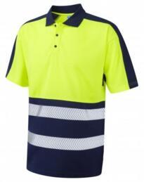 HiVis CoolViz Plus Class 1 Polo Shirt - Yellow / Navy