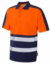 HiVis CoolViz Plus Class 1 Polo Shirt - Orange / Navy