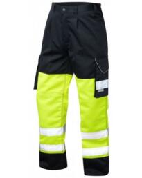 HiVis Bideford 2 Tone Polycotton Cargo Trousers - Yellow / Navy