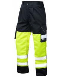 HiVis Bideford 2 Tone Polycotton Cargo Trousers - Yellow / Navy