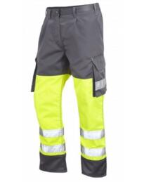 HiVis Bideford 2 Tone Polycotton Cargo Trousers - Yellow / Grey