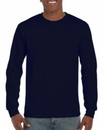 Gildan Ultra Cotton Long Sleeve Tee Shirt - Navy Blue