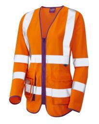 Ladies Class 2 Sleeved Superior Waistcoat - Orange