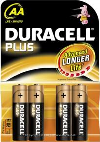 Duracell Plus Alkaline Battery - AA - Pack 4