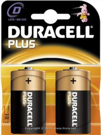 Duracell Plus Alkaline Battery - D - Pack 2