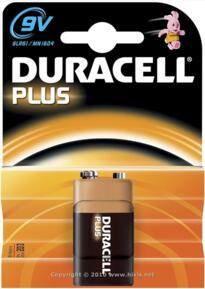 Duracell Plus Alkaline Battery - 9V - Pack 1