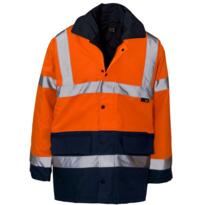 Hi Vis Contrast Parka Jacket - Orange / Navy Blue