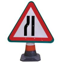 Road Cone Sign - Road Narrows Left