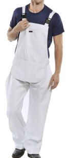 Cotton Drill Bib & Brace - White
