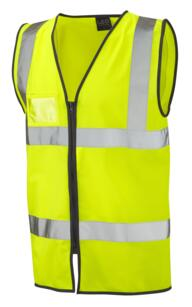 Leo HiVis Zipped Vest with ID Pocket - Yellow