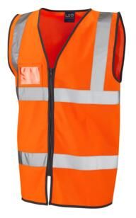 Leo HiVis Zipped Vest with ID Pocket - Orange