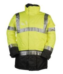 HiVis Sioen Lightflash Parka Jacket - Yellow / Navy Blue