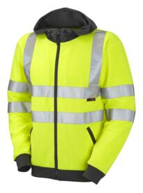 HiVis Full Zip Hooded Sweatshirt - Yellow