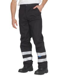 Hi-Vis Work Trousers - Black
