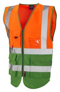 HiVis Two Tone Executive Vest - Orange / Green