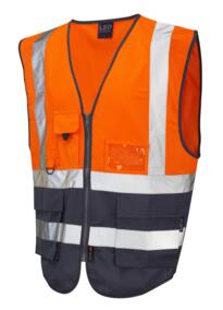 HiVis Two Tone Executive Vest - Orange / Navy Blue