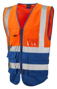 HiVis Two Tone Executive Vest - Orange / Royal Blue