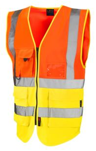 Leo HiVis Two Tone Executive Vest - Orange / Yellow