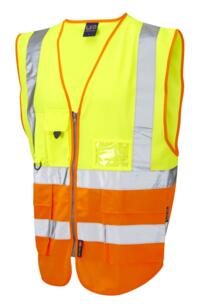 Leo HiVis Two Tone Executive Vest - Yellow / Orange