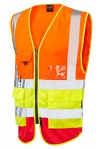 Leo HiVis Tri Colour Executive Vest - Orange / Yellow / Red