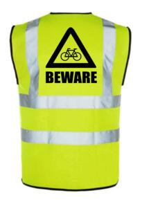 HiVis Cyclists Beware Vest - Yellow