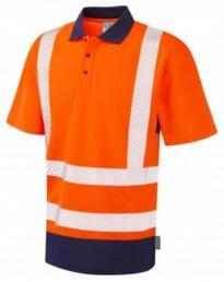 Woolacombe HiVis CoolViz Plus Class 2 Polo Shirt - Orange / Navy Blue