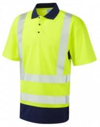 Woolacombe HiVis CoolViz Plus Class 2 Polo Shirt - Yellow / Navy Blue