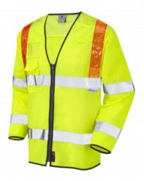 Leo HiVis Long Sleeved Orange Brace Vest - Yellow
