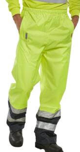 B-Seen HiVis 2 Tone Breathable Over Trousers - Yellow / Navy Blue