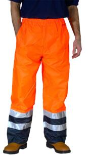 B-Seen HiVis 2 Tone Breathable Over Trousers Rail Spec - Orange / Navy Blue