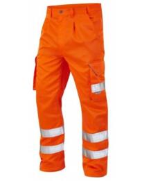 Leo HiVis Polycotton Cargo Trousers Rail Spec - Orange