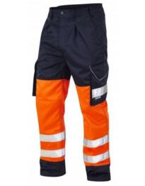 Leo HiVis 2 Tone Polycotton Cargo Trousers - Orange / Navy Blue