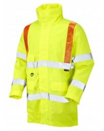 Putford Orange Braces HiVis Parka Jacket from Leo Workwear - Yellow