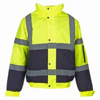 HiVis Two Tone Bomber Jacket - Yellow / Navy Blue