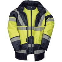 HiVis Sioen 4 in 1 Skollfield Jacket - Yellow / Navy Blue