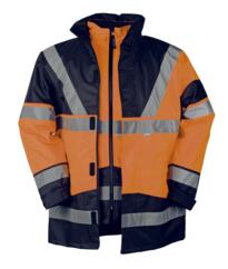 HiVis Sioen 4 in 1 Skollfield Jacket - Orange / Navy Blue