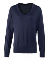 Premier Ladies V-Neck Jumper - Navy Blue