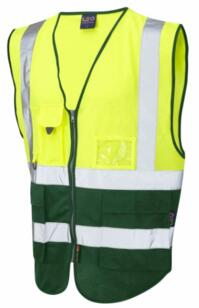 HiVis Two Tone Executive Vest - Yellow / Bottle Green