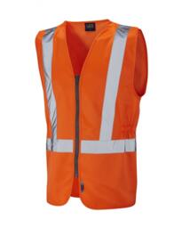 Leo HiVis Zipped Vest Rail Spec - Orange