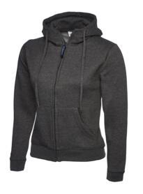 Uneek Ladies Classic Full Zip Hooded Sweatshirt - Charcoal