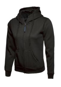 Uneek Ladies Classic Full Zip Hooded Sweatshirt - Black