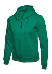 Uneek Ladies Classic Full Zip Hooded Sweatshirt - Kelly Green