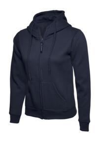 Uneek Ladies Classic Full Zip Hooded Sweatshirt - Navy Blue