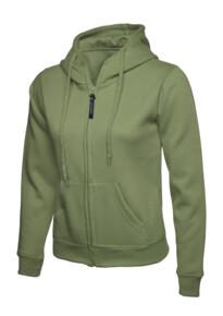 Uneek Ladies Classic Full Zip Hooded Sweatshirt - Olive