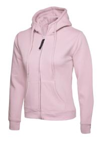 Uneek Ladies Classic Full Zip Hooded Sweatshirt - Pink