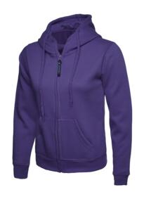 Uneek Ladies Classic Full Zip Hooded Sweatshirt - Purple