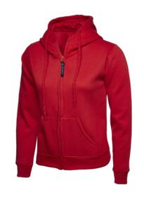 Uneek Ladies Classic Full Zip Hooded Sweatshirt - Red
