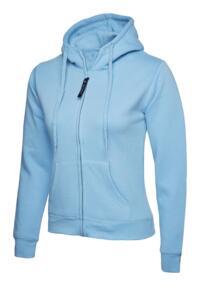 Uneek Ladies Classic Full Zip Hooded Sweatshirt - Sky Blue